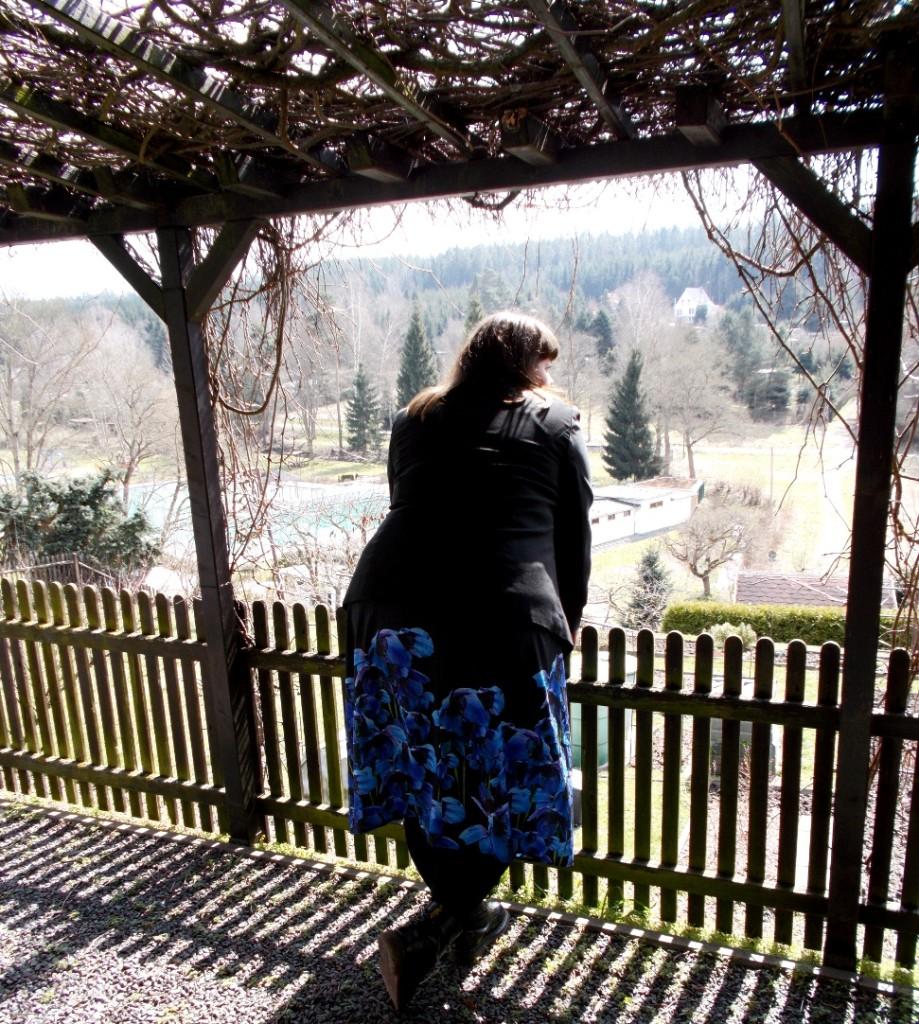 Plus Size Kleid mit blauen Mohnblumen
