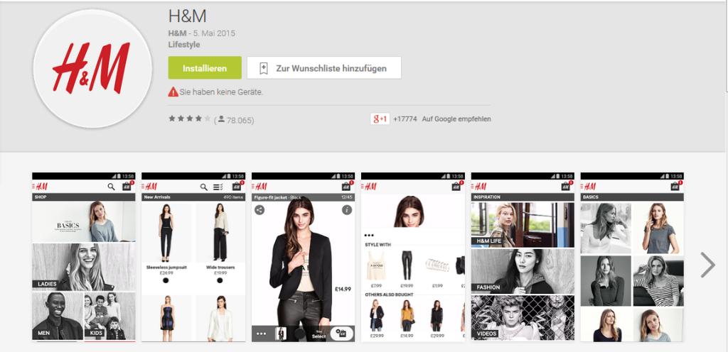 Shopping App von H&M