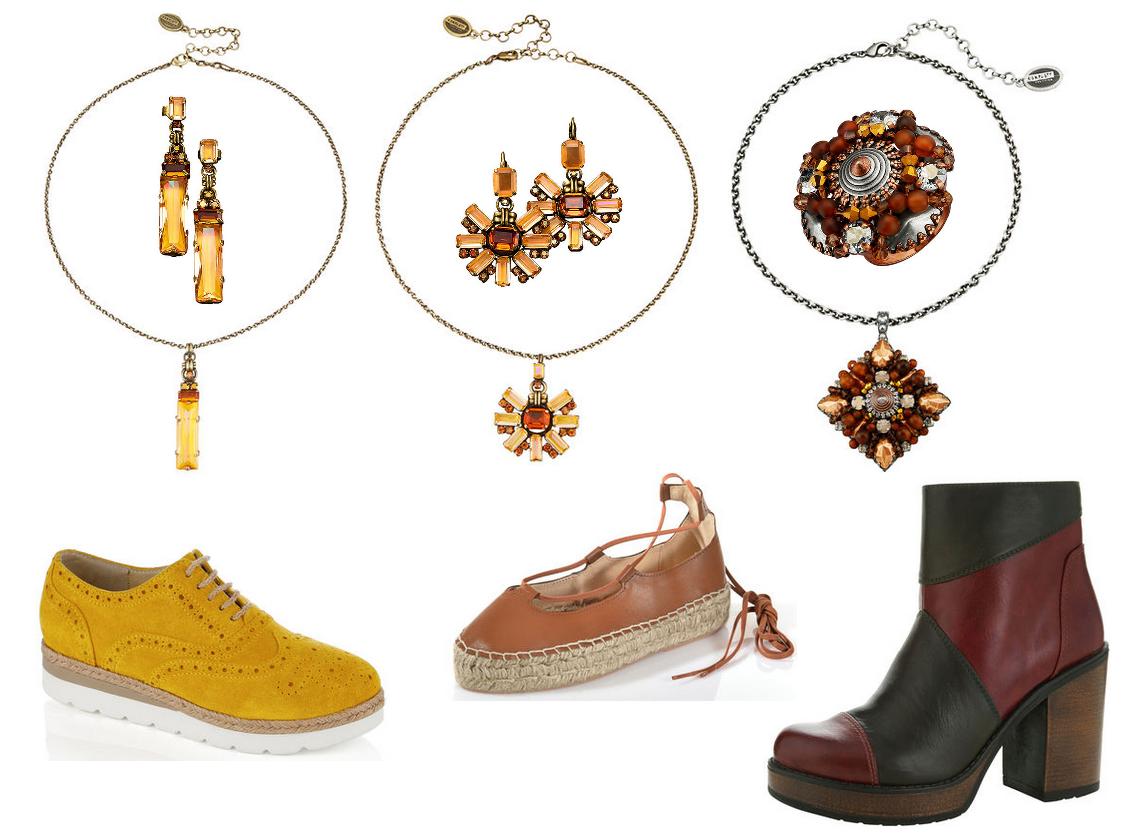Colllage von Konplott Accessoires mit passenden Schuhen - Swarovski Kristalle in warmen Farbtönen.