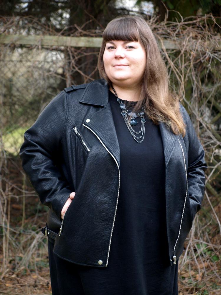 Schwarze Plus Size Lederjacke
